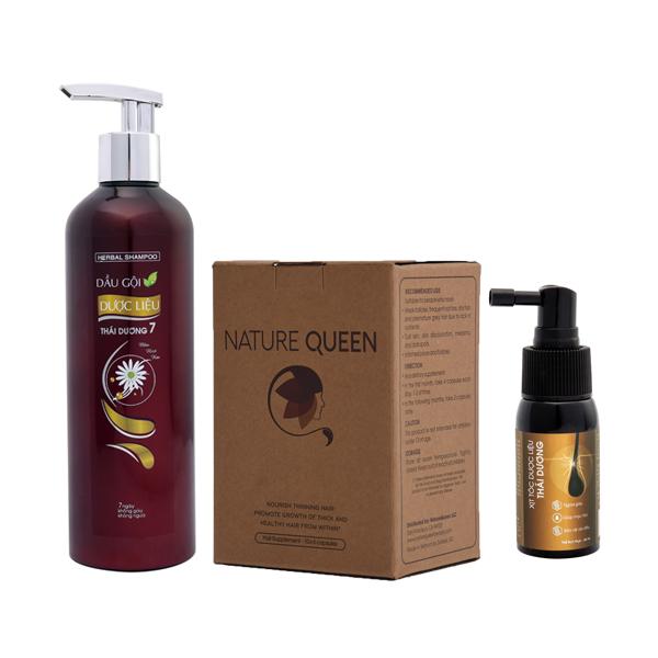 Combo 01 Dầu gội Thái Dương 7 ( 1100ml ) + 01 Xịt tóc dược liệu + 01 Viên uống mọc tóc Nature Queen