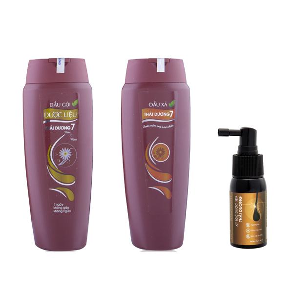 Combo 01 gội + 01 xả Thái Dương 7 ( 200ml ) + Xịt tóc dược liệu Thái Dương