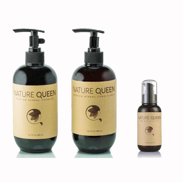 Combo 01 Dầu gội Nature Queen 480ml + 01 Dầu xả Nature Queen 480ml + 01 Serum mọc tóc Nature Queen